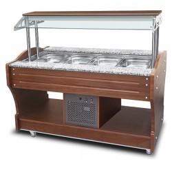 Buffet froid à île avec réfrigération statique, 4x GN 1/1 h150 mm, hotte pas abaissable