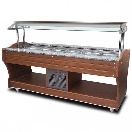 Buffet froid à île avec réfrigération statique, 6x GN 1/1 h150 mm, hotte pas abaissable