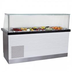 Capacité net : de 4x à 6x GN 1/1 h  150 mm, table de préparation réfrigérée avec 2 portes et structure en verre