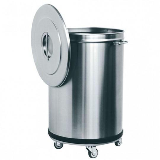 Poubelle en inox sur roues, 90 litres