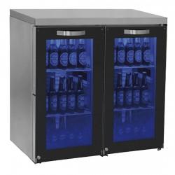 Réfrigérateur bar gauche avec 2 portes battantes en verre, 90+90 bouteilles, 0°/+8°C