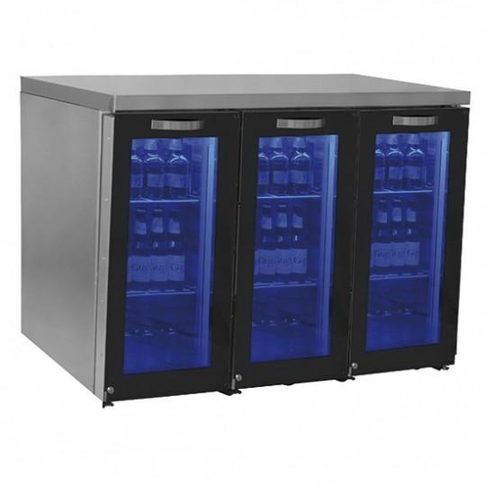 Réfrigérateur bar gauche avec 3 portes battantes en verre, 90+90+90 bouteilles, 0°/+8°C