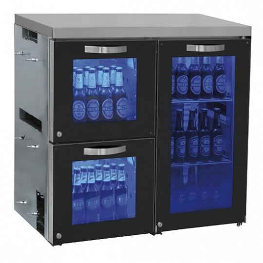 Réfrigérateur bar droite avec 1 porte battante en verre et 2 tiroirs en verre, 0°/+8°C