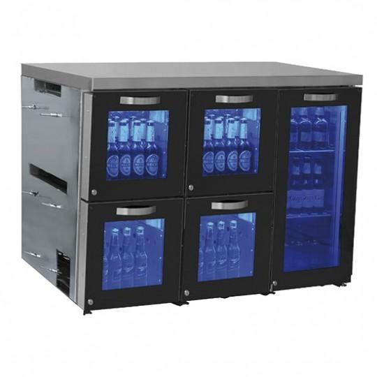 Réfrigérateur bar droite avec 1 porte battante en verre et 4 tiroirs en verre, 0°/+8°C
