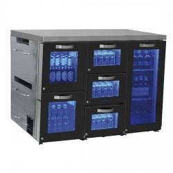 Réfrigérateur bar droite avec 1 porte battante en verre et 5 tiroirs en verre, 0°/+8°C