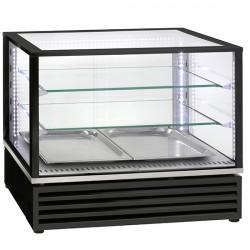 Présentoir réfrigéré de table avec 2 étagères en verre et coulissantes, +2°/+10°C