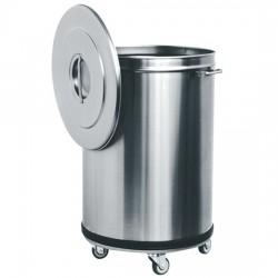 Poubelle en inox sur roues, 50 litres