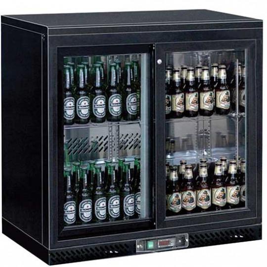 Réfrigérateur bar avec 2 portes battantes en verre, 201 litres, +1°/+10°C