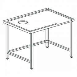 Table de triage droit avec trou, pour machines avec sortie à gauche, l1600 mm