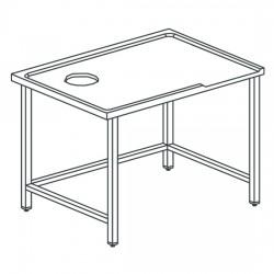 Table de triage droit avec trou, pour machines avec sortie à gauche, l2000 mm