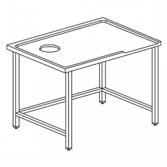 Table de triage droit avec trou, pour machines avec sortie à gauche, l2400 mm