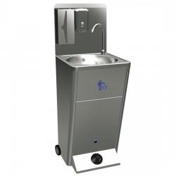 Lave-mains mobile avec commande à pedal, corbeille à papier et distributeurs de savon et de papier
