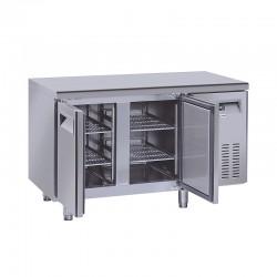 Table réfrigérée en inox, 2 à 4 portes inox, 260 litres, -2°/+8°C,  GN 1/1, 700mm