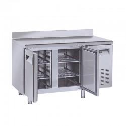 Table réfrigérée en inox avec dosseret, 2 portes inox, 260 litres, -2°/+8°C,  GN 1/1, 700mm