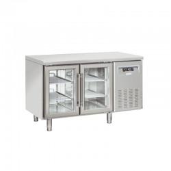 Table réfrigérée en inox, 2 portes vitrées, 260 litres, +3°/+10°C,  GN 1/1, 725mm