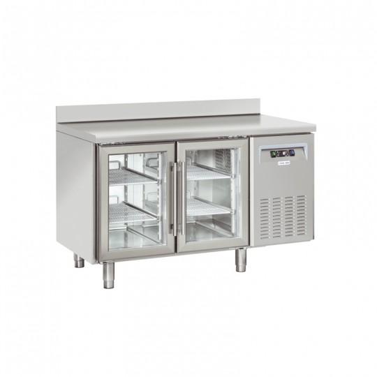Table réfrigérée en inox avec dosseret, 2 à 4 portes vitrées, 260 litres, +3°/+10°C,  GN 1/1, 725mm