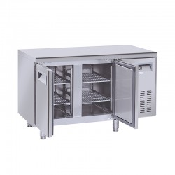Table réfrigérée en inox, de 2 portes en inox, 230 litres, -2°/+8°C, GN 1/1,600mm