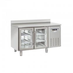 Table réfrigérée inox avec dosseret, de 2 portes vitrées, 230 litres, +3°/+10°C, 625mm