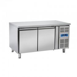 Table réfrigérée en inox, de 2 portes en inox, 430 litres, +2°/+8°C, 800mm