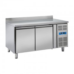 Table réfrigérée inox avec dosseret, de 2 à 4 portes en inox, grilles 60 X 40 cm, 430 litres, +2°/+8°C, 800mm