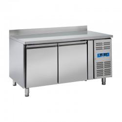 Table réfrigérée inox avec dosseret, de 2 portes en inox, 430 litres, +2°/+8°C, 800mm