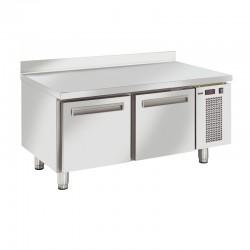 Table réfrigérée en inox avec dosseret, de 2 tiroirs en inox, 150 litres, -2°/+7°C, GN 1/1, 685mm