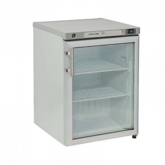 Congélateur en inox revêtement blanc, 1 porte  vitrée, ABS interne, 200 litres, -18°C/-21°C