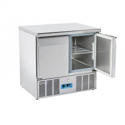 Saladette en inox, 2 portes, 215 litres, 0°C/+8°C