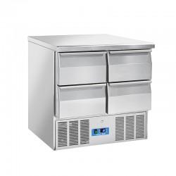 Saladette en inox, 4 à 6 portes, 215 litres, 0°C/+8°C