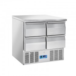 Saladette en inox, 4 portes, 215 litres, 0°C/+8°C