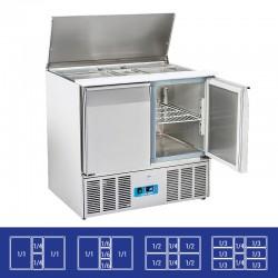 Saladette en inox, 2 portes, 230 litres, 0°C/+8°C