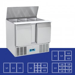 Saladette en inox, 2 portes, 270 litres, 0°C/+8°C