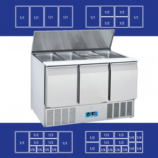 Saladette en inox, 3 portes, 365 litres, 0°C/+8°C