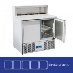 Saladette en inox, 2 à 3 portes, 260 litres, 0°C/+8°C