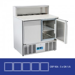 Saladette en inox, 2 portes, 260 litres, 0°C/+8°C