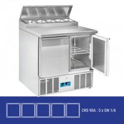 Saladette en inox, 2 portes, 240 litres, 0°C/+8°C