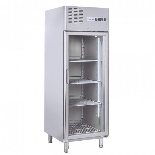 Armoire réfrigérée en inox, 1 porte vitrée, 550 litres, +3°/+10°C