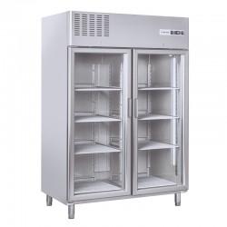Armoire réfrigérée en inox, 2 portes vitrées, 1300 litres, +3°/+10°C