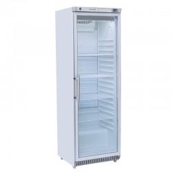 Armoire réfrigérée revêtement blanc, porte vitrée, 400 litres, +2°/+8°C