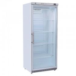 Armoire réfrigérée revêtement blanc, porte vitrée, 600 litres, +2°/+8°C