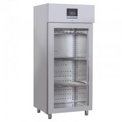 Armoire réfrigérée pour viandes en inox, porte vitrée, 800 litres, +2°/+8°C
