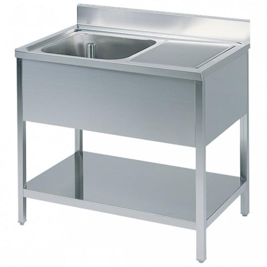 Table de travail avec bac à gauche, profondeur de 700 mm, avec dosseret et étagère, largeur de 1000 à 2000 mm