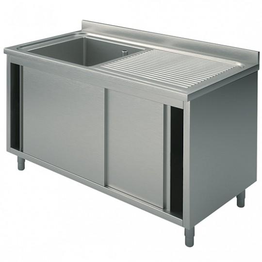 Plonge sur armoire, profondeur de 600 mm, 1 bac + égouttoir à droite, avec portes coulissantes, largeur de 1000 à 1500 mm
