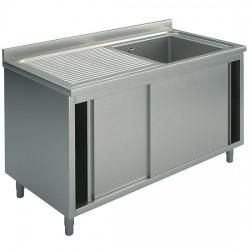 Plonge sur armoire, profondeur de 600 mm, 1 bac + égouttoir à gauche, avec portes coulissantes, largeur de 1000 à 1500 mm
