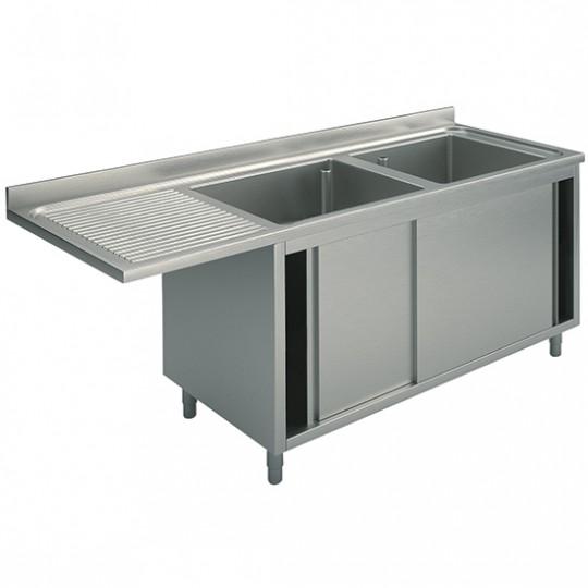 Plonge sur armoire avec portes coulissantes, profondeur de 700 mm, 2 bacs à droite, largeur de 1600 à 2000 mm