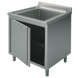 Plonge sur armoire, profondeur de 600 mm, 1 bac, avec porte battante, largeur de 600 à 800 mm
