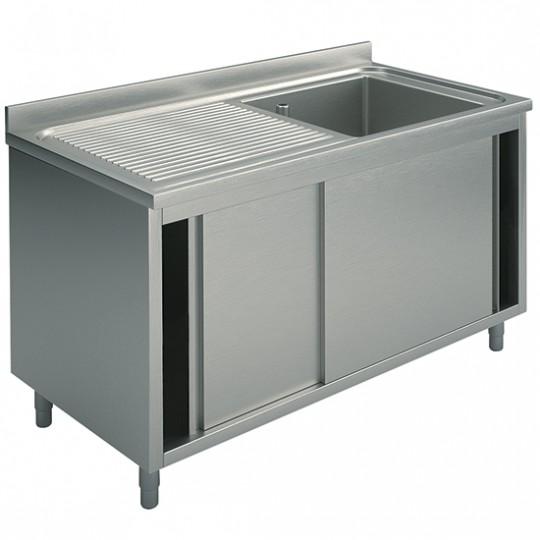 Plonge sur armoire, profondeur de 700 mm, 1 bac, égouttoir à gauche, avec portes coulissantes, largeur de 1000 à 1500 mm