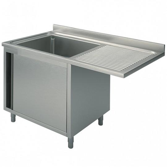 Plonge sur armoire avec porte battante, profondeur de 600 mm, 1 bac à gauche, largeur de 1200 à 1400 mm