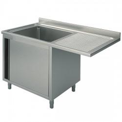 Plonge sur armoire avec porte battante, profondeur de 700 mm, encastrement pour lave-vaisselle, largeur de 1200 à 1400 mm
