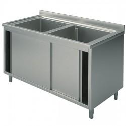 Plonge sur armoire,  profondeur de 600 mm, 2 bacs, avec portes coulissantes, largeur de 1000 à 1600 mm